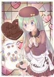 1girl alice_carroll apron aria aria_pokoteng bangs beret blue_eyes blush border bow box cat chocolate chocolate_heart commentary_request gift gift_box green_hair hair_between_eyes happy_valentine hat heart highres long_hair nut_megu open_mouth outside_border president_maa spoken_heart valentine waist_apron white_border
