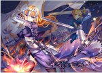 2girls ahoge armor armored_dress artoria_pendragon_(all) banner black_legwear blonde_hair blue_dress blue_ribbon braid braided_ponytail chain dress excalibur fate/grand_order fate_(series) faulds floating_hair gauntlets hair_ribbon headpiece holding holding_sword holding_weapon jeanne_d'arc_(fate) jeanne_d'arc_(fate)_(all) long_hair multiple_girls ribbon saber single_braid sky standing star_(sky) starry_sky sword thighhighs very_long_hair weapon ying_yue
