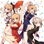 4girls ahoge artoria_pendragon_(all) black_dress black_panties blonde_hair blue_dress breasts china_dress chinese_clothes cleavage cleavage_cutout commentary commentary_request dress eyebrows_visible_through_hair fan fate/extra fate/grand_order fate/stay_night fate/unlimited_codes fate_(series) green_eyes hair_bun hair_ribbon large_breasts legs medium_breasts multiple_girls nero_claudius_(fate) nero_claudius_(fate)_(all) panties red_dress ribbon saber saber_alter saber_lily sakura_yuki_(clochette) string_panties teeth underwear white_background white_dress white_legwear yellow_eyes