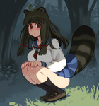 1girl animal_ears bangs black_hair blush breasts brown_eyes covered_nipples eyebrows forest full_body hair_ribbon hands_on_own_knees large_breasts leaf leaf_on_head loafers nature original raccoon_ears ribbon ryoji_(nomura_ryouji) school_uniform serafuku shoes skirt socks solo squatting tail tree