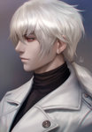 1boy chromatic_aberration hair_tie highres looking_to_the_side male_focus ponytail profile red_eyes signature solo stanley_lau susanghan_messenger upper_body white_hair zen_(susanghan_messenger)
