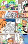 6+girls :3 aqua_hair back_scratcher black_hair blonde_hair blue_eyes blue_hair book bow brown_eyes butterfly_wings chen chestnut_mouth chuunibyou cirno comic daiyousei drawing eternity_larva fairy_wings fang giving_up_the_ghost gradient_hair green_eyes green_hair halo head_bump headdress highres homework ice ice_wings kamishirasawa_keine luna_child moyazou_(kitaguni_moyashi_seizoujo) multicolored_hair multiple_girls notebook orange_hair parody partially_translated red_eyes shaded_face short_hair side_ponytail spoken_flower star_sapphire sunny_milk sweat touhou translation_request wings
