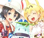 2girls animal_ears backpack bag black_gloves black_hair blonde_hair bow bowtie commentary_request cross-laced_clothes elbow_gloves fur_collar gloves hair_between_eyes hat hat_feather helmet high-waist_skirt japari_symbol kaban_(kemono_friends) kemono_friends kentairui lucky_beast_(kemono_friends) multiple_girls open_mouth pith_helmet red_shirt serval_(kemono_friends) serval_ears serval_print serval_tail shirt short_hair shorts skirt sleeveless sleeveless_shirt smile striped_tail tail wavy_hair