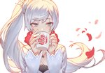 1girl bangs blue_eyes cape collar commentary_request cup drinking eyebrows_visible_through_hair hair_ornament hairpin holding holding_cup izumi_sai jewelry long_hair long_sleeves looking_at_viewer looking_down necklace ponytail rwby scar scar_across_eye side_ponytail silver_eyes silver_hair solo weiss_schnee white_background