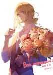 absurdres alcohol axis_powers_hetalia blonde_hair blue_eyes bouquet champagne champagne_flute commentary_request cup dated drink drinking_glass flower france_(hetalia) french highres holding kieshi_heta male_focus one_eye_closed personification simple_background solo twitter_username upper_body waistcoat white_background