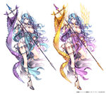 1girl blue_hair breasts character_request cleavage full_body gradient_hair head_wings high_heels large_breasts long_hair looking_at_viewer million_arthur_(series) multicolored_hair multiple_views nardack purple_eyes purple_hair shoes simple_background smile staff two-tone_hair valkyrie variations white_background wings