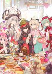 1boy 6+girls :d :q ahoge apron aqua_hair artist_name bangs beaker black_gloves blonde_hair blue_eyes book bouquet bow bowl bowtie cake carton chin_rest chocolate chocolate_cake chocolate_heart closed_eyes cookie cooking creature day demon_archer dress elbow_gloves eyebrows_visible_through_hair fate/apocrypha fate/extra fate/grand_order fate_(series) flower food fou_(fate/grand_order) fruit fur_trim gloves grey_eyes hair_between_eyes hair_bow hair_ribbon hat headpiece heart heart_print holding holding_bowl horns indoors japanese_clothes jeanne_alter jeanne_alter_(santa_lily)_(fate) kitchen kiyohime_(fate/grand_order) koha-ace laughing long_hair long_sleeves marie_antoinette_(fate/grand_order) mixing_bowl multiple_girls namie-kun nursery_rhyme_(fate/extra) open_book open_mouth otoko_no_ko peaked_cap pepper_shaker pink_eyes purple_eyes reading red_eyes ribbon rider_of_black ruler_(fate/apocrypha) sakura_saber salt_shaker short_hair short_sleeves silver_hair skull smile star table tissue tissue_box tongue tongue_out tray twintails vase whisk white_gloves wide_sleeves window yellow_eyes