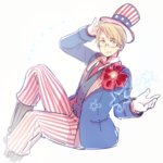 1boy america_(hetalia) axis_powers_hetalia blonde_hair blue_eyes crossed_legs fourth_of_july glasses gloves hat male_focus necktie rosel-d sitting smile solo star top_hat white_gloves