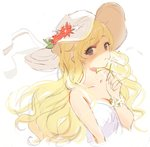 1girl bangs bare_shoulders blonde_hair blue_eyes collarbone commentary_request dress eyebrows_visible_through_hair flower flower_on_head gat highres holding holding_flower idolmaster idolmaster_cinderella_girls long_hair looking_at_viewer ootsuki_yui parted_lips red_flower shaded_face simple_background sketch sleeveless smelling solo tomato_omurice_melon upper_body white_background white_flower