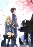 1boy 1girl arima_kousei black_cat black_hair blazer blonde_hair blue_eyes cat cherry_blossoms glasses grand_piano highres instrument long_hair looking_at_viewer miyazono_kawori necktie petals piano piano_bench school_uniform shigatsu_wa_kimi_no_uso short_hair skirt wingheart