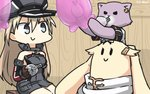 1girl anchor_hair_ornament balloon bismarck_(kantai_collection) black_serafuku blonde_hair blue_eyes breastplate brown_gloves cat commentary_request detached_sleeves gloves grey_legwear hair_flaps hair_ornament hamu_koutarou hat highres iron_cross kantai_collection long_hair military military_hat military_uniform peaked_cap remodel_(kantai_collection) scarf school_uniform serafuku tama_(kantai_collection) the_yuudachi-like_creature uniform white_scarf yuudachi_(kantai_collection)