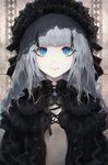 1girl bangs blue_eyes blunt_bangs closed_mouth commentary expressionless flat_chest grey_hair hat highres jname lace long_hair looking_at_viewer multicolored_hair original solo symbol-shaped_pupils two-tone_hair upper_body