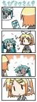 0_0 2girls 4koma :p >_< chibi chibi_miku closed_eyes comic commentary_request drinking hatsune_miku imagining kagamine_rin minami_(colorful_palette) multiple_girls silent_comic soda spring_onion surprised sweatdrop tongue tongue_out translated twintails vocaloid |_|