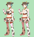 1girl animal_ears bare_shoulders bell bell_collar belt blush boots breasts brown_eyes brown_hair cleavage collar cow_bell cow_ears cow_horns cow_print detached_sleeves ebinera headset highres horns idolmaster idolmaster_cinderella_girls large_breasts midriff navel oikawa_shizuku short_hair shorts sketch solo