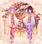 2girls akemi_homura alternate_costume arm_at_side bai_qi-qsr black_hair closed_mouth egasumi eyebrows_visible_through_hair floral_background floral_print flower full_body geta hair_flower hair_ornament hair_ribbon hairband holding_hands japanese_clothes kaname_madoka kimono long_hair long_sleeves looking_at_viewer mahou_shoujo_madoka_magica multiple_girls nail_polish obi pink_eyes pink_hair print_kimono purple_eyes purple_kimono purple_nails red_hairband red_kimono red_ribbon ribbon sash shiny shiny_hair short_hair short_twintails smile standing straight_hair tabi tassel tree_branch twintails very_long_hair white_legwear wide_sleeves