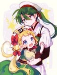 1boy 1girl :d blonde_hair blue_eyes blush bow dress gen_2_pokemon gen_5_pokemon green_dress green_hair hair_between_eyes hair_ornament hat highres hug long_hair looking_at_viewer moro_sorano open_mouth personification pink_bow pokemon pokemon_(creature) ponytail sigilyph smile standing white_hat xatu