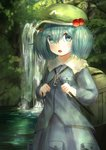 1girl :o absurdres backpack bag blue_hair blue_shirt blue_skirt blush breasts cowboy_shot day ekaapetto flat_cap forest frilled_shirt_collar frills green_backpack green_hat hair_between_eyes hair_bobbles hair_ornament hat highres holding_strap kawashiro_nitori key long_sleeves nature outdoors pocket shirt short_hair skirt skirt_set small_breasts solo standing strap touhou twintails two_side_up untucked_shirt water waterfall