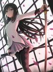 1girl akemi_homura argyle argyle_legwear black_hairband black_legwear breasts closed_mouth expressionless foreshortening frilled_skirt frills from_below hairband highres holding holding_sword holding_weapon katana long_hair long_sleeves looking_at_viewer looking_down mahou_shoujo_madoka_magica motion_blur outstretched_arm pantyhose petals pink_skirt purple_eyes purple_ribbon ribbon scabbard see-through sheath shirt siraha skirt small_breasts solo standing sword unsheathed very_long_hair weapon white_shirt