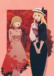 2girls absurdres aki_shizuha arms_behind_back autumn_leaves black_bow black_ribbon blonde_hair bow buttons closed_eyes collared_dress commentary_request dress facing_another hair_between_eyes hat hat_bow hat_ribbon highres irohasu_(sasagarasu) leaf_print long_hair looking_at_another multiple_girls open_mouth ribbon short_hair touhou trait_connection very_long_hair watatsuki_no_toyohime white_hat yellow_eyes