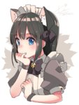 1girl animal_ears apron bangs bell black_hair blue_eyes blunt_bangs blush bow bowtie cat_ears closed_mouth commentary_request copyright_request dated eyebrows_visible_through_hair hair_bow hand_on_own_chin jingle_bell koruri looking_at_viewer maid maid_headdress puffy_short_sleeves puffy_sleeves purple_bow purple_bowtie short_sleeves sidelocks signature solo tareme two-tone_background white_apron wristband