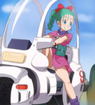 1girl aqua_hair blue_eyes blue_sky braid bulma cloud day dragon_ball ground_vehicle hair_ribbon haruyama_kazunori long_hair looking_away motor_vehicle panties pantyshot pantyshot_(sitting) red_ribbon ribbon short_sleeves single_braid sitting sky smile solo underwear white_panties