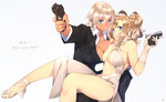 23_(real_xxiii) 2girls ahoge ahoge_girl_(23) aiming_at_viewer asymmetrical_docking bare_legs bare_shoulders blonde_hair blue_eyes breast_press breasts cleavage commentary_request couple covered_nipples dark-skinned_girl_(23) dark_skin earrings finger_on_trigger formal gloves good_end gun handgun high_heels highres james_bond_(series) jewelry large_breasts legs lips long_hair looking_at_viewer multiple_girls navel open_mouth original sandals shoes short_hair silver_hair simple_background skyfall smile suit taurus taurus_millennium_g2 taurus_pt111_g2 translated trigger_discipline walther walther_ppk weapon white_background white_gloves wife_and_wife yuri