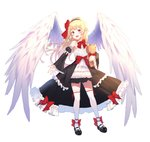 1girl aak bangs bare_shoulders black_footwear black_hairband black_skirt black_sleeves blonde_hair blush bow copyright_request detached_sleeves dress eyebrows_visible_through_hair feathered_wings frilled_sleeves frills full_body hair_bow hairband highres juliet_sleeves long_hair long_sleeves object_hug pleated_skirt pointy_ears puffy_sleeves red_bow red_eyes shoes simple_background skirt sleeves_past_wrists solo standing strapless strapless_dress stuffed_animal stuffed_toy teddy_bear thighhighs very_long_hair white_background white_bow white_dress white_legwear white_wings wide_sleeves wings