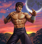 1boy >:( abs belt black_hair blue_pants closed_mouth cloud cloudy_sky commentary_request cowboy_shot dated fighting_stance frown full_moon hokuto_no_ken kenshirou looking_afar male_focus matataku moon muscle pants scar serious shirtless signature sky solo standing star sunset v-shaped_eyebrows wristband