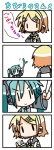 2girls 4koma :> aqua_hair chibi chibi_miku comic commentary_request hatsune_miku hungry kagamine_rin minami_(colorful_palette) multiple_girls silent_comic spring_onion translated vocaloid |_|