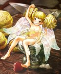 1girl alcohol barefoot beer blonde_hair breasts cherry coin dagger dragon's_crown fairy fairy_wings feet foam food fruit goblet gold hyuu_(sing-dog) licking_lips looking_at_viewer minigirl nude partially_submerged ripples small_breasts smile solo tiki_(dragon's_crown) toes tongue tongue_out twintails weapon wings