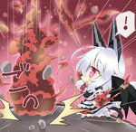 ! 1girl black_wings blush chibi explosion hair_ornament highres long_hair milkpanda open_mouth phantasy_star phantasy_star_online_2 red_background red_eyes ribbon rock tail white_hair wings