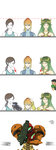 1boy 3girls 4koma arm_cannon black_hair blonde_hair blue_eyes blush boxing_gloves comic directional_arrow expressionless green_hair height_chart height_conscious highres kid_icarus little_mac metroid motoji_(hamayarawa) multiple_girls palutena petting ponytail punch-out!! samus_aran sleeveless smile super_smash_bros. weapon white_eyes white_skin wii_fit wii_fit_trainer