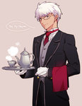 1boy alternate_costume archer bespectacled butler dark_skin dark_skinned_male english fate/stay_night fate_(series) formal glasses male_focus necktie smile solo speech_bubble suit tea_set tetsukuzu_tetsuko tray white_hair