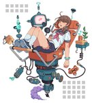 1girl brown_hair closed_eyes commentary cup floating floating_object highres machinery original ponytail reclining school_uniform science_fiction scrunchie serafuku shoe_soles shoes sleeping smoke sneakers solo tanuki_koubou translated white_background wrist_scrunchie