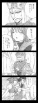 4koma bad_id comic crossover guan_yu highres monochrome onozuka_komachi shiki_eiki shin_sangoku_musou sitting sitting_on_lap sitting_on_person touhou translated una_kata zhang_liao