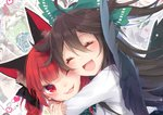 2girls ;3 animal_ears black_bow black_wings blush bow braid brown_hair cat_ears close-up closed_eyes feathered_wings green_bow hair_between_eyes hair_bow happy heart highres hug kaenbyou_rin long_hair long_sleeves multiple_girls open_mouth red_eyes red_hair reiuji_utsuho shirt smile touhou toutenkou twin_braids upper_body white_shirt wings