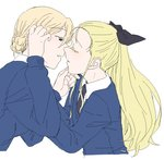 2girls assam black_neckwear black_ribbon blonde_hair blue_sweater blush braid closed_eyes colored_eyelashes commentary_request cropped_torso darjeeling eyebrows_visible_through_hair french_braid girls_und_panzer hand_on_another's_chin imminent_kiss long_hair multiple_girls necktie parted_lips ponytail ribbon sketch st._gloriana's_school_uniform sweater torinone white_background