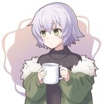 1girl coat contemporary drawfag facial_scar fate/apocrypha fate/grand_order fate_(series) green_coat green_eyes holding jack_the_ripper_(fate/apocrypha) looking_at_viewer oversized_clothes scar scar_on_cheek short_hair simple_background solo sweater turtleneck turtleneck_sweater white_hair