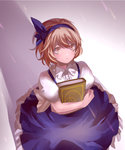 1girl alice_margatroid alice_margatroid_(pc-98) blonde_hair blue_dress blush book crescent_moon dress eredhen expressionless frilled_collar frilled_dress frills hairband holding holding_book light looking_up moon puffy_short_sleeves puffy_sleeves shadow short_hair short_sleeves solo standing star touhou yellow_eyes