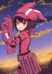 1girl animal_ears animal_hat bangs blush brown_hair bullpup bunny_ears cloud commentary_request from_side fur_trim gloves gun hat highres holding jacket kaname_(melaninusa09) llenn_(sao) looking_at_viewer outdoors p90 pants pink_gloves pink_headwear short_hair solo submachine_gun sunset sword_art_online sword_art_online_alternative:_gun_gale_online weapon