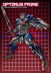 1boy autobot blue_eyes character_name full_body grid grid_background headgear holding holding_sword holding_weapon huge_weapon looking_at_viewer machinery mecha no_humans optimus_prime paintedmike red_background shield solo standing sword transformers weapon