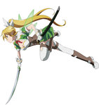 1girl blonde_hair braid breasts cleavage full_body gloves green_eyes highres holding holding_sword holding_weapon leafa leafa_(sao:im) long_hair official_art pointy_ears ponytail simple_background skirt solo sword sword_art_online thighhighs twin_braids very_long_hair weapon white_background white_legwear