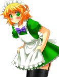 1girl alternate_costume apron bent_over black_legwear blonde_hair blush bow dress enmaided garter_straps green_dress green_eyes highres maid maid_apron maid_headdress mizuhashi_parsee mono_(moiky) pointy_ears puffy_short_sleeves puffy_sleeves short_sleeves solo thighhighs touhou transparent_background wavy_mouth zettai_ryouiki