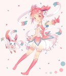1girl :d adapted_costume blush boots crossover dress frilled_dress frills gen_6_pokemon gloves hair_ribbon hitsukuya kaname_madoka knee_boots looking_at_viewer mahou_shoujo_madoka_magica open_mouth pink_dress pink_eyes pink_footwear pink_gloves pink_hair pink_ribbon pokemon pokemon_(creature) ribbon short_hair simple_background smile sylveon twintails