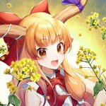 1girl :d bangs bare_shoulders blonde_hair bow bowtie commentary_request eyebrows_visible_through_hair fang flower gradient gradient_background hair_bow highres horn_ribbon ibuki_suika leaf long_hair looking_at_viewer momoshiki_tsubaki oni oni_horns open_mouth orange_eyes petals purple_ribbon rapeseed_blossoms red_bow red_neckwear ribbon shirt sidelocks sleeveless sleeveless_shirt smile solo touhou upper_body white_background white_shirt yellow_background yellow_flower