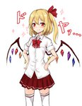 1girl alternate_costume amagi_(amagi626) bangs blonde_hair blush bow bowtie breast_pocket breasts commentary_request contemporary cowboy_shot crystal eyebrows_visible_through_hair flandre_scarlet hair_between_eyes hair_ribbon hands_on_hips highres long_hair looking_at_viewer miniskirt no_hat no_headwear one_side_up pleated_skirt pocket red_bow red_eyes red_neckwear red_ribbon red_skirt ribbon school_uniform shirt simple_background skirt small_breasts smile solo sparkle standing thighhighs thighs touhou translation_request white_background white_legwear white_shirt wing_collar wings zettai_ryouiki