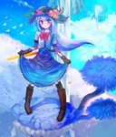 1girl bird black_headwear blue_hair blue_skirt boots bow brown_footwear cloud commentary erty113 food frills fruit gloves hat highres hinanawi_tenshi keystone knee_boots long_hair peach rainbow red_bow red_eyes rope shide shimenawa shirt short_sleeves skirt skirt_hold sky smile solo sword_of_hisou touhou tree water waterfall white_shirt