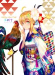 1girl 2017 ahoge animal artoria_pendragon_(all) bird blonde_hair chick chicken fate/stay_night fate_(series) flower furisode green_eyes hair_flower hair_ornament happy_new_year japanese_clothes kimono looking_at_viewer nengajou new_year revision rooster saber weed_(astarone) year_of_the_rooster