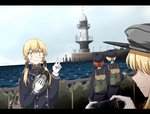4girls any_(lucky_denver_mint) aqua_eyes backpack bag bismarck_(kantai_collection) blonde_hair blue_coat blue_sky cellphone cloud commentary_request day hat hat_removed headwear_removed highres horizon kantai_collection lighthouse long_hair low_twintails multiple_girls ocean outdoors peaked_cap phone prinz_eugen_(kantai_collection) railing scenery sky smartphone twintails v z1_leberecht_maass_(kantai_collection) z3_max_schultz_(kantai_collection)