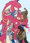 1girl armor blonde_hair blush brother_and_sister closed_eyes dual_persona fish_girl gloves hair_ornament hat highres hug jewelry kandori_makoto link long_hair mipha monster_boy pointy_ears red_hair siblings sidon smile the_legend_of_zelda the_legend_of_zelda:_breath_of_the_wild yellow_eyes zora